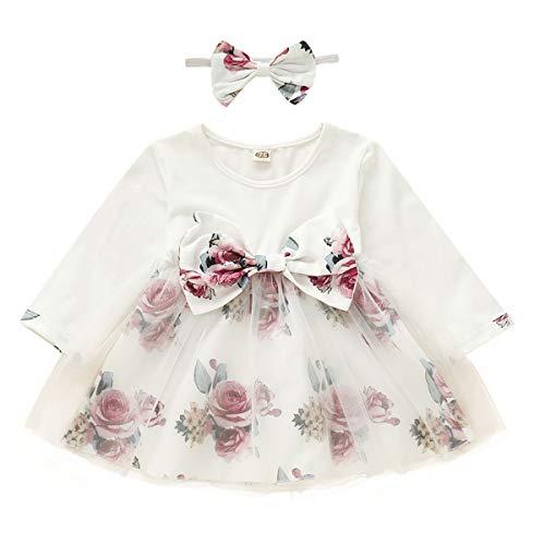 Tianhaik babyjurk lentebloemenballetrokje-in elkaar grijpjurk kleinkind-lange mouwboog-knopen partyjurk met hoofdband A-lijn 12 ~ 18 Monate wit