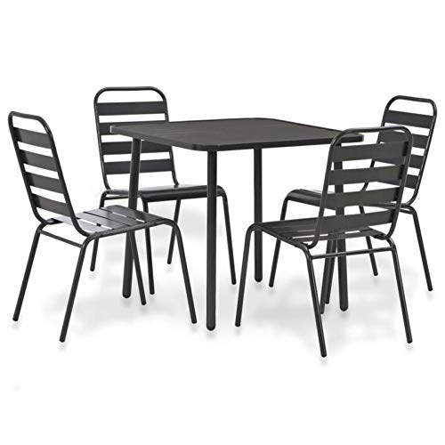 QWSX Simple design Modern Outdoor Dining Set Dark Grey Garden Sets Steel Outdoor Balcony Set for Garden Patio Bistro Set Stacking Chairs Durable (Color : 5pcs)