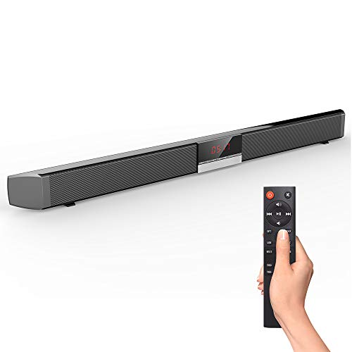 Sound Bar, 2.0 Channel Wired&Wireless Bluetooth Stereo Soundbar, Three Equalizer Mode Audio Speaker for TV (Optical Cable Included,DSP,Bass Adjustable,Wall Mountable)