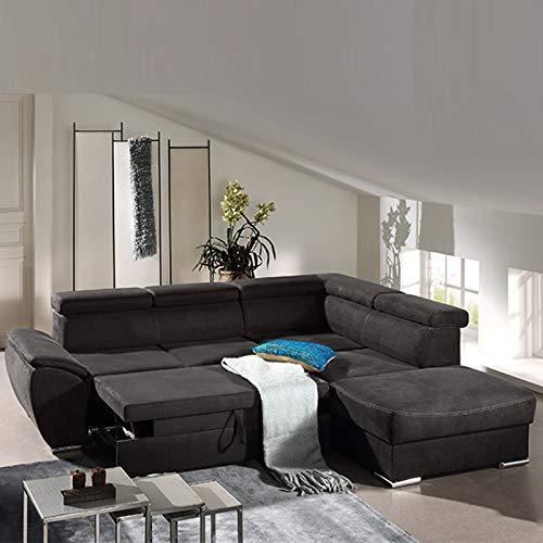 Hoekbank, uittrekbaar, zwart van albaama-stof.