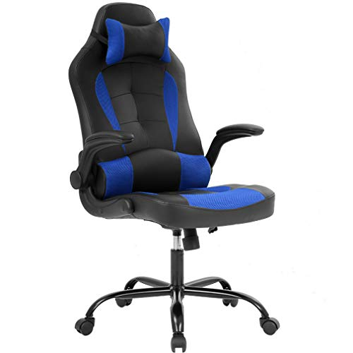 Racing Style Leather Gaming Chair, Ergonomic Swivel Rolling Chair Computer Office Chair(Blue) blue chair gaming
