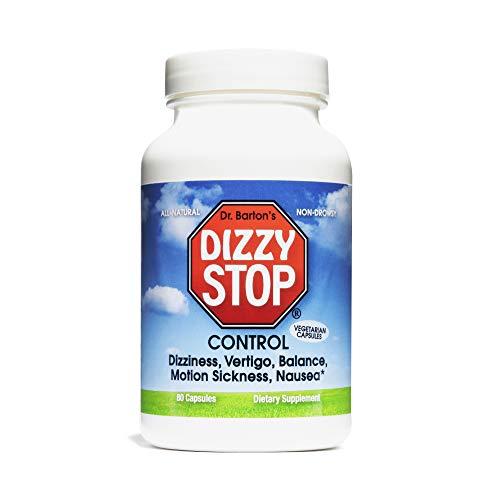 DizzyStop - All-Natural Herbal Supplement for Motion Sensitivity, Including Car, Air, & Sea Sickness, Dizziness, Nausea, & Vertigo - Non-Drowsy Prevention & Relief Aid - 80 Capsules