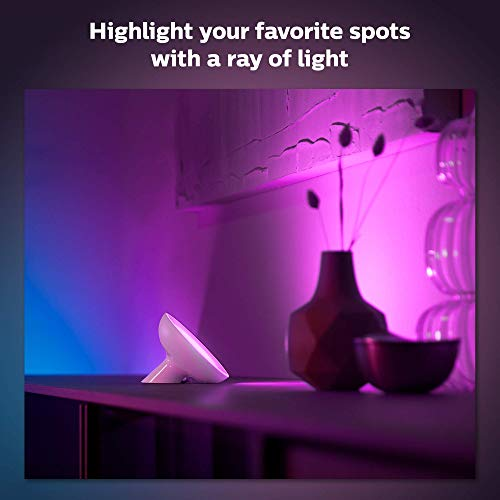 Philips Hue Bloom White and Color Corded Dimmable LED (Bluetooth & Zigbee) Smart Light Table Lamp, White