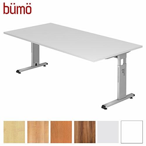 bümö® Stabiler Schreibtisch höhenverstellbar 200 x 100 cm | Bürotisch in Weiß | Büroschreibtisch mit Höheneinstellung | Tisch für Büro in 9 Größen & 7 Dekoren