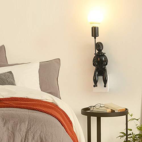 LCSD Luces de Pared Lámpara De Pared Nórdica Personalidad Creativa Minimalista Payaso Negro 9 * 45 Cm Corredor Comedor Sala De Estar Dormitorio Cama Luz Cálida