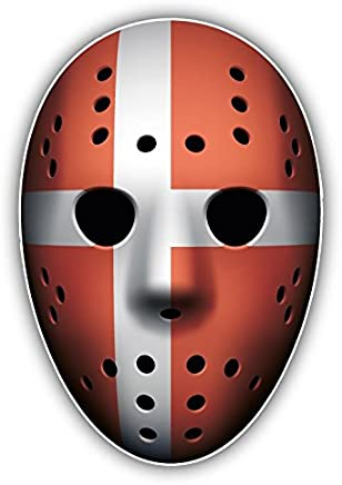 Denmark Flag Ice Hockey Goalie Mask Vinyl Decal Bumper Sticker 3'' X 5''