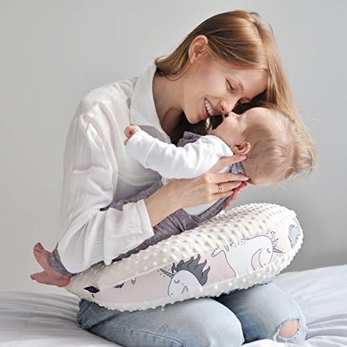 Sevira Kids - Coussin d'allaitement pour Bebe - Coussin Enfant - Minky - Extra doux - Maman Poule - Maintien Ergonomique- Multi fonctions - 50x40 cm - Cadeau Naissance - Licorne Rose