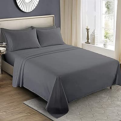 Infinitee Xclusives 1800 TC Series Queen Sheet Set - 4 Piece Bed Sheets - Soft Brushed Microfiber Fabric - 16 Inches Deep Pockets Sheets Wrinkle Free & Fade Resistant (Grey, Queen)