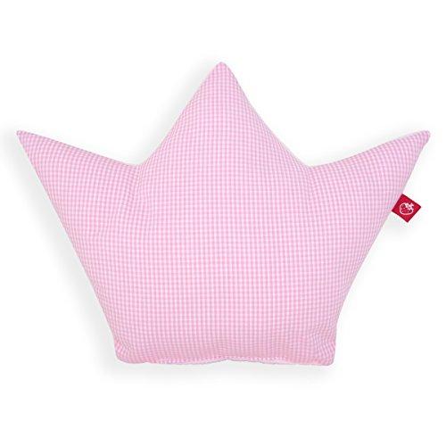 La Fraise Rouge 4251005602188 kussen kroon prinses, Vichy Karo, roze/wit