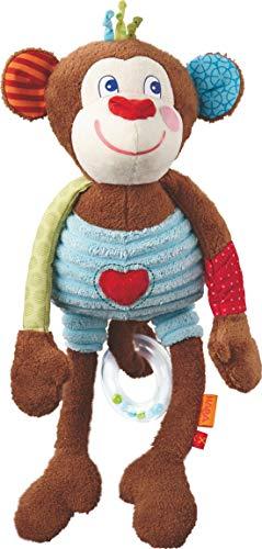 Haba 302993 - speelfiguur aap Lino | knuffeldier met vele speeleffecten en magnetische handen voor het vastklemmen | babyspeelgoed vanaf 6 maanden
