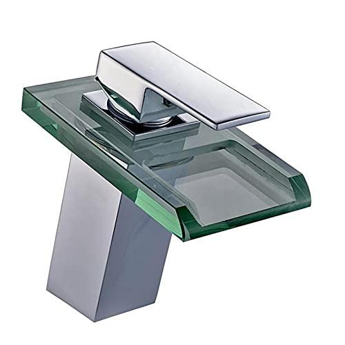 WJQQ Grifo de Lavabo Baño Cascada, Monomando Mezclador Latón y Cristal Moderno con Iluminación LED RGB, Griferia Agua Fría y Agua Caliente