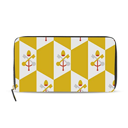 Damen Clutch, Vatikanstadt Flagge, Leder, Lange Brieftasche, Kartenhalter, Geldbörse