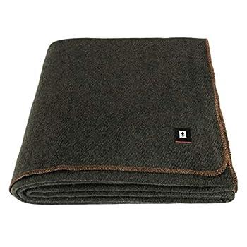 EKTOS 100% Wool Blanket Washable 5.0 lbs 66 x90   Twin Size  - Olive Green