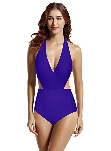 zeraca Women's Surplice Neckline High Waisted Halter One Piece Monokini Swimsuit (Smouldering Navy, Large / 12)