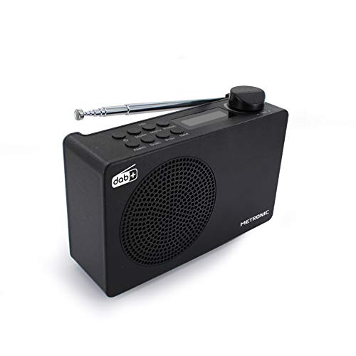 METRONIC 477231 Radio numérique DAB+ et FM RDS avec sortie casque, double alarme et batterie intégrée d'une autonomie de 7 h - Noir