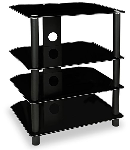 Mount-It! AV Component Media Stand, Glass Shelves, Audio Video Components, Storage for Xbox, Playstation, Speakers, Cable Boxes, 88 Lb Load Capacity, Black Silk (Mi-867)