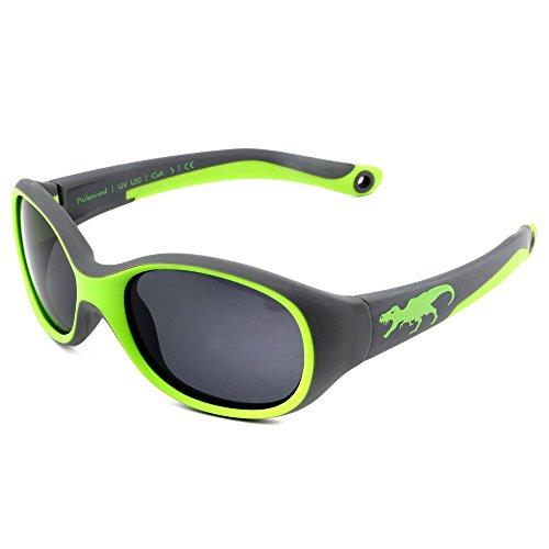 ActiveSol KINDER-Sonnenbrille | JUNGEN | 100% UV 400 Schutz | polarisiert | unzerstörbar aus flexiblem Gummi | 2-6 Jahre | 22 Gramm [T-Rex]