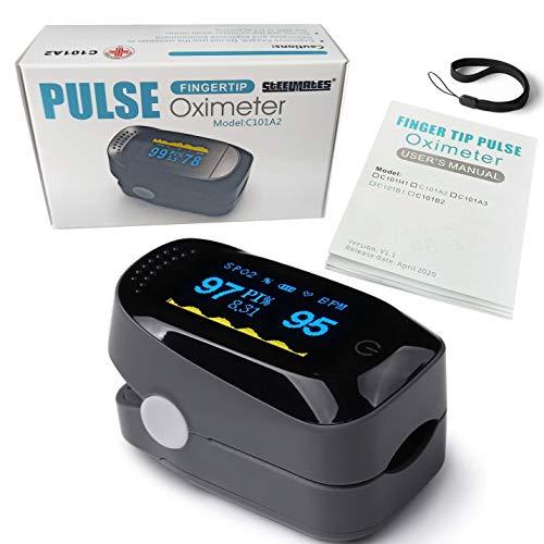 STEELMATES Pulse Oximeter, Saturimetro Da Dito Professionale Certificato Italiano, Pulsossimetro Da Dito Professionale Certificato, Ossimetro da Dito Professionale Certificato, Indice di Perfusione PI