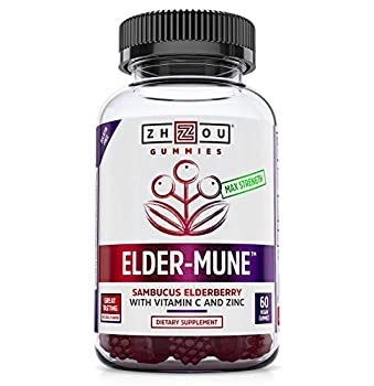 Zhou Elder-Mune Sambucus Elderberry Gummies | Antioxidant Flavonoids Immune Support Zinc & Vitamin C Supplement | 30 Servings 60 Gummies