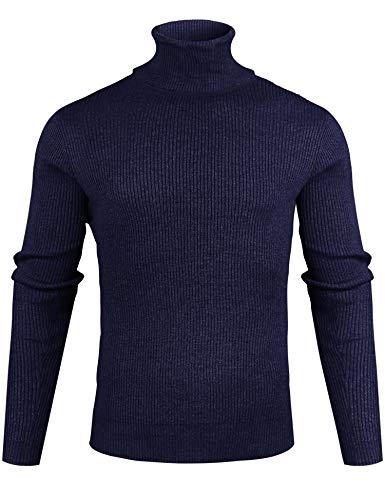 Sykooria Pullover Homme Col Roule Étroit Laine, Pulls Basique Homme Hiver Manches Longues Chandails en Tricot Slim Fin,Bleu Foncé,XL