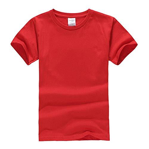 DREAMING-Camiseta De Manga Corta De Algodón Peinado para Niños Camiseta De Cuello Redondo Juvenil Ropa para Niños 40C Red 130CM