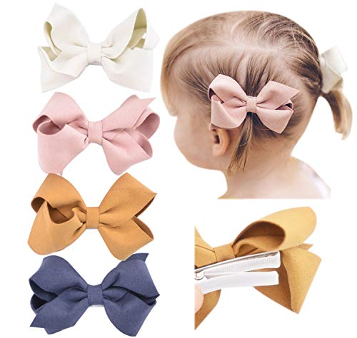 California Tot Set of 4 Faux Suede 3D Bow Clips for Toddlers, Girls (3D Suede Bow Clip Set of 4)