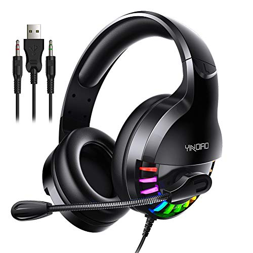 shlutesoy Q2 Wired Gaming Headset LED Light Headphones with Mic for Computers Laptops Glare Gaming Headset Black 3 Joints