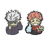 Jujutsu Kaisen Pins Enamel Brooch, Anime Jujutsu Kaisen Character Cosplay Lapel Pin Metal Badges Gifts for Fans (2Pcs/set)