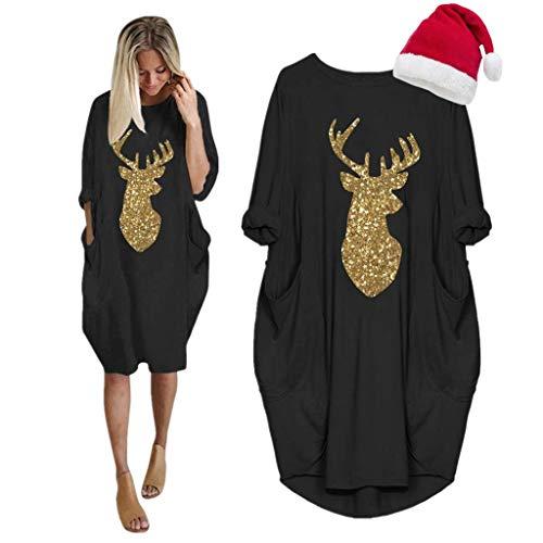 LOPILY Weihnachtskleid Damen Große Größen Pailletten Glitzer Weihnachten Jumperkleid mit Rentier Gedruckt Goldene Weihnachten Sweatkleider Damen Xmas Ausgestellte Minikleid Christmas (Schwarz, 48)