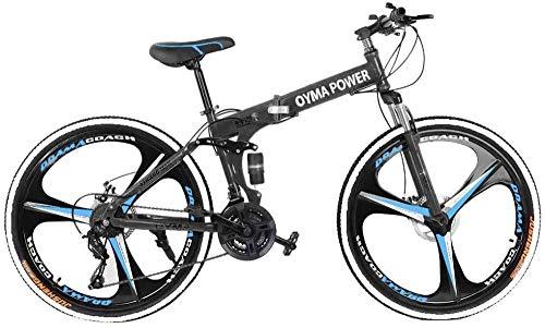 SYCY Bicicleta de montaña Plegable de 26 Pulgadas Shimanos Bicicleta de 21 velocidades Bicicleta Plegable de suspensión Completa Bicicleta MTB
