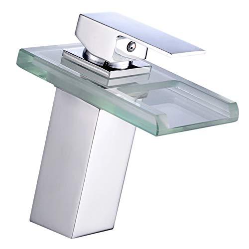 Grifo del lavamanos del baño, 3 colores que cambian la cascada Soltero de la manija de la cascada, el grifo de vidrio de latón con la tubería de agua de seguimiento de la luz LED, para las cuencas