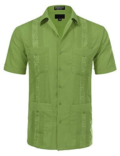 Allsense Herren Kurzarm Cuban Guayabera Hemd -  Grün -  Mittel