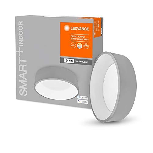 LEDVANCE Smarte LED Wand-und Deckenleuchte für Innen mit WiFi Technologie, Lichtfarbe änderbar (3000K-6500K), Grau, 450mm, Kompatibel mit Google und Alexa Voice Control, SMART+ WIFI ORBIS CYL