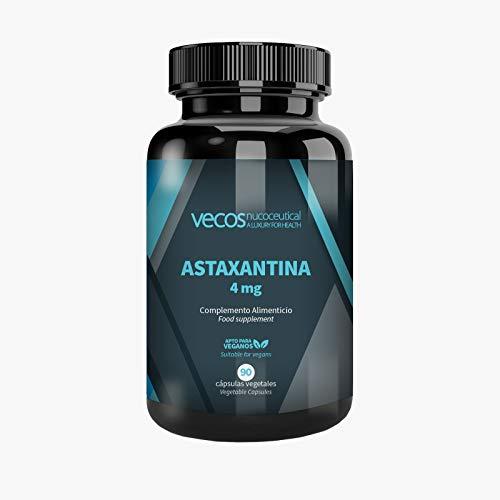 Astaxantina Vecos 4 mg - Potente antioxidante que beneficia la función inmunológica, la salud cardiovascular y es estado de la piel y la vista. 90 cápsulas vegetales. APTO VEGANOS