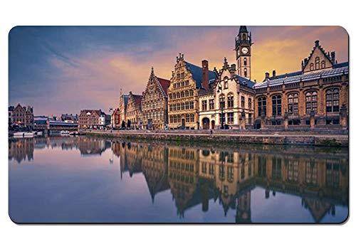 Toetsenbord voor computer muismat antislip onderkant waterdicht - Gand, huis, rivier België - uitgebreide gaming-muismat