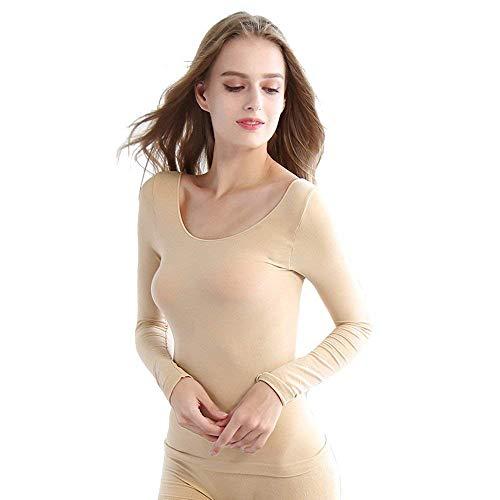 Huixin Damen Thermotop Mode Langarm Rundhals Skinny Elegant Stretch Jumpsuit Unifarben Korsett Shorts Set Tops Boxershort (Color : Hautfarbe, Size : One Size)