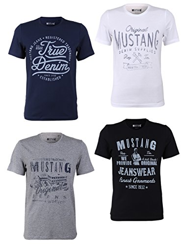 MUSTANG Herren T-Shirt 4er Pack Frontprint O-Neck Rundhalsausschnitt Kurzarm Regular Tee Shirt 100% Baumwolle Schwarz Weiß Grau Blau, Größe:M, Farbe:Farbmix (P7)