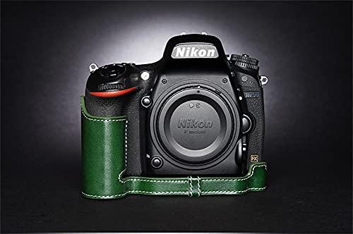 ULIN Estuche para Bolsa de cámara para Nikon D750 Cubierta de Medio Cuerpo de Cuero Genuino Hecho a Mano con Apertura de batería,Dark Green