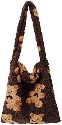 Women Fashion Cartoon Bear Plush Handbags Shoulder Underarm Totes Bags product image