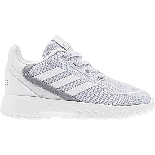 adidas Nebzed I, Scarpe Running Unisex-Bimbi 0-24, Grigio Scuro/Bianco Ftwr/Verde Segnale, 27 EU