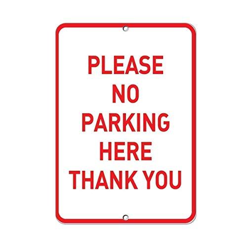 BDTS Metaal Waarschuwingsbord 8x12 inches Teken Metaal Aluminium Teken Gelieve Geen Parkeren Hier Dank U Parkeerbord Plaque voor Yard Garage Oprit Huis Hek