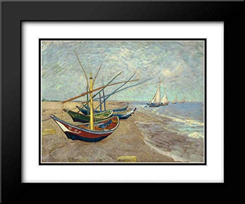 Van 海外 Gogh Vincent 売り込み 17x15 Black Modern Mu Double Framed Matted and