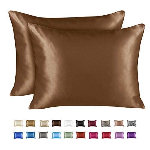 ShopBedding Luxury Satin Pillowcase for Hair – Standard Satin Pillowcase with Zipper, Camel (Pillowcase Set of 2) – Blissford