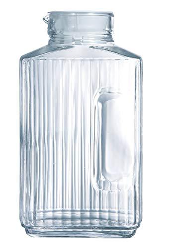 Arcoroc Quadro Frigo Pichet avec couvercle en plastique blanc 2l, 1 Pichet