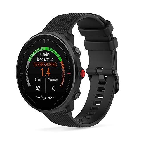 Ficocean Correa de Reloj Compatible con Polar Vantage M /Polar Grit X, Universal 22mm Correa de Silicona Pulsera de Repuesto Banda de Deportes Fitness (Negro)