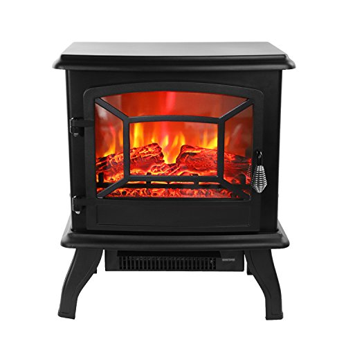 ROVSUN 20' H Electric Fireplace Stove Space Heater 1400W Portable Freestanding with Thermostat,Realistic Flame Logs Vintage Design for Corners, 17' L x 9' W x 20' H CSA Approved, 110V