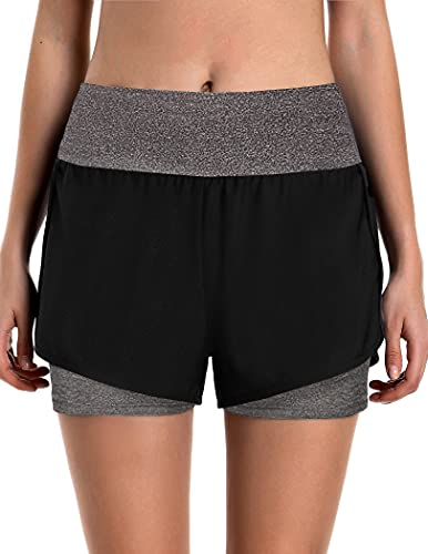 COOrun Women Workout Yoga Running Double Layer Exercise Shorts with Pocket Dark Grey L