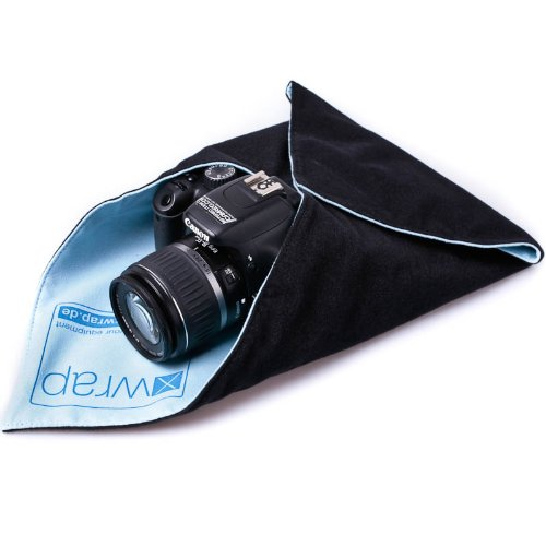 X-Wrap Mikrofaser-Einschlagtuch mit Klett (Schutzhülle, Transportschutz) 40 x 40 cm - z.B. für kleine bis mittlere DSLR-Kameras, größere spiegellose Systemkameras und oder Tablet-PCs (iPad).