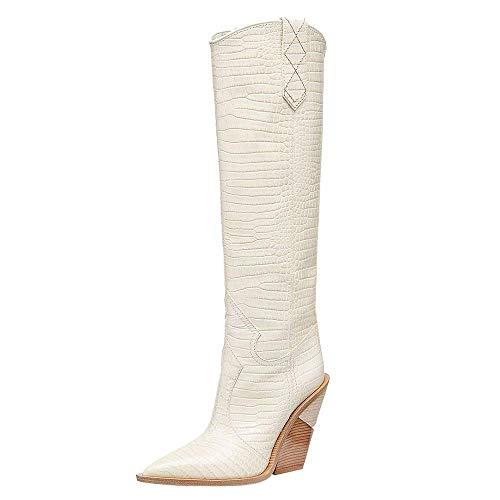 aznz Damen Klassische Krokodil-Muster Blockabsatz Kurze Stiefel Spitz Cowboystiefel, Weiß, 44 EU