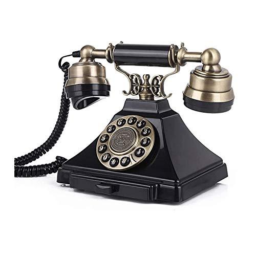 CHENXU Oficina Teléfono Fijo Teléfono Europeo Retro Home Office Desktop Button Dial Fijo teléfono Fijo